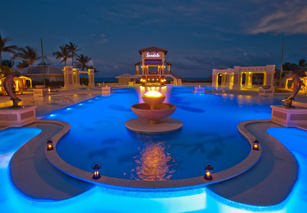Exuma All Inclusive Resort - Sandals Emerald Bay main pool at night